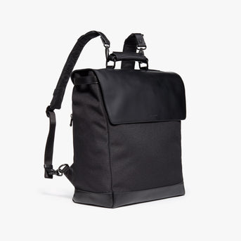 Side Backpack - Prospect - 1200D Recycled Poly - Black / Black / Grey Wave - Backpack - Lo & Sons
