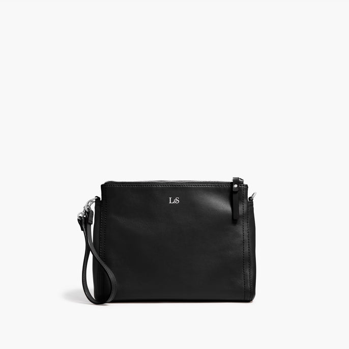 Front Clutch - The Pearl - Nappa Leather - Black / Silver / Camel - Crossbody - Lo & Sons