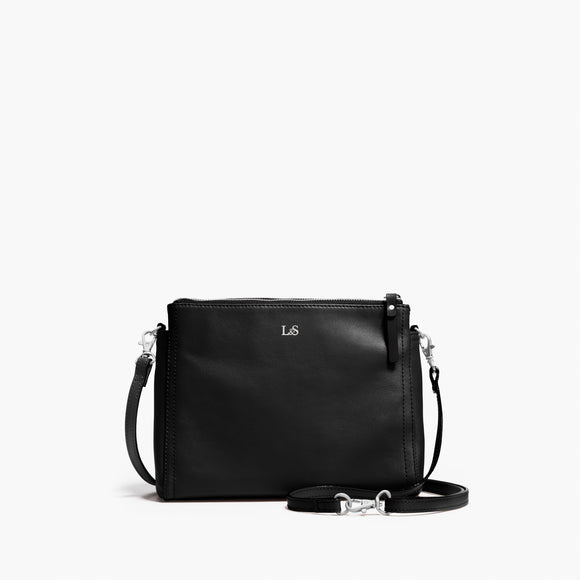 Front Crossbody - The Pearl - Nappa Leather - Black / Silver / Camel - Crossbody - Lo & Sons