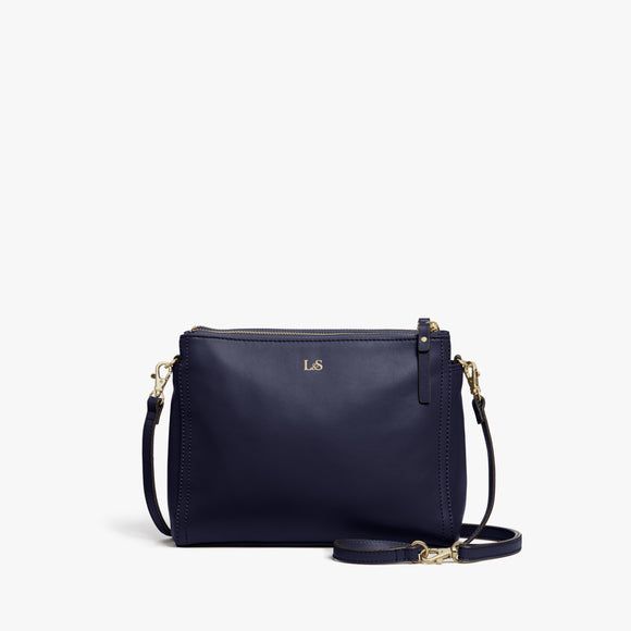 Front - Pearl - Nappa Leather - Deep Navy / Gold / Camel - Crossbody Bag - Lo & Sons