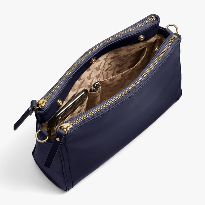 Interior Full - Pearl - Nappa Leather - Deep Navy / Gold / Camel - Crossbody Bag - Lo & Sons
