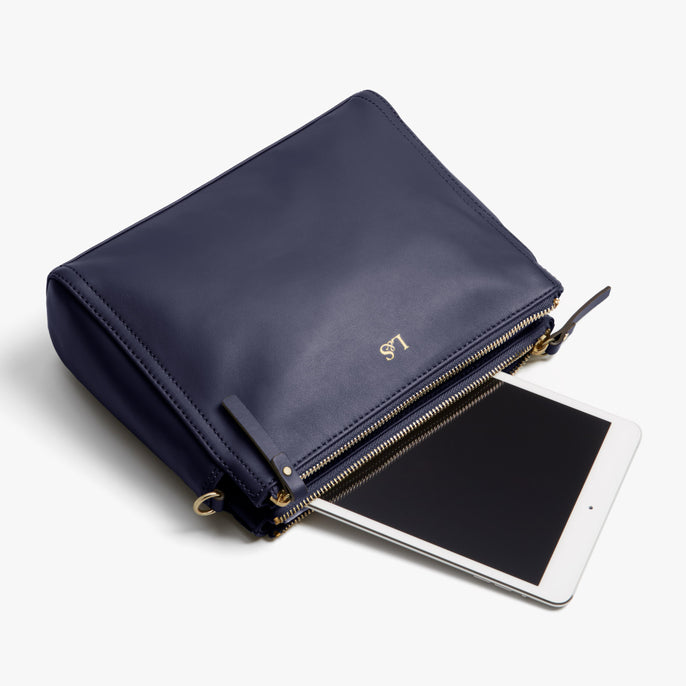 Tablet - Pearl - Nappa Leather - Deep Navy / Gold / Camel - Crossbody Bag - Lo & Sons