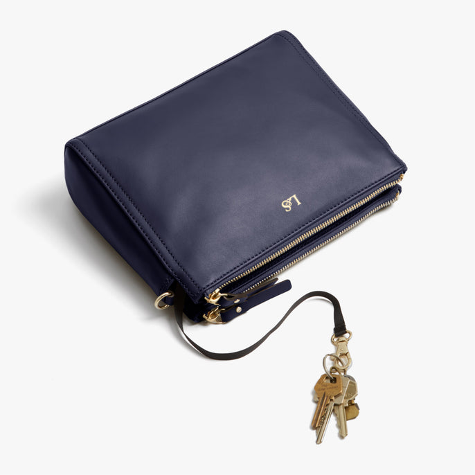 Key Leash - Pearl - Nappa Leather - Deep Navy / Gold / Camel - Crossbody Bag - Lo & Sons
