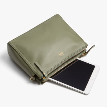 Tablet - Pearl - Nappa Leather - Sage Green / Gold / Camel - Crossbody Bag - Lo & Sons