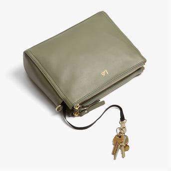 Key Leash - Pearl - Nappa Leather - Sage Green / Gold / Camel - Crossbody Bag - Lo & Sons
