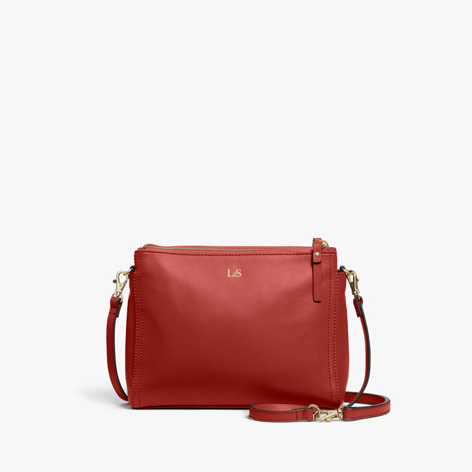 Front - Pearl - Nappa Leather - Santa Fe Red / Gold / Camel - Crossbody Bag - Lo & Sons