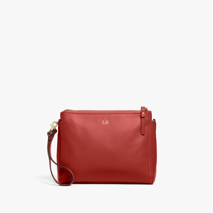 Clutch - Pearl - Nappa Leather - Santa Fe Red / Gold / Camel - Crossbody Bag - Lo & Sons