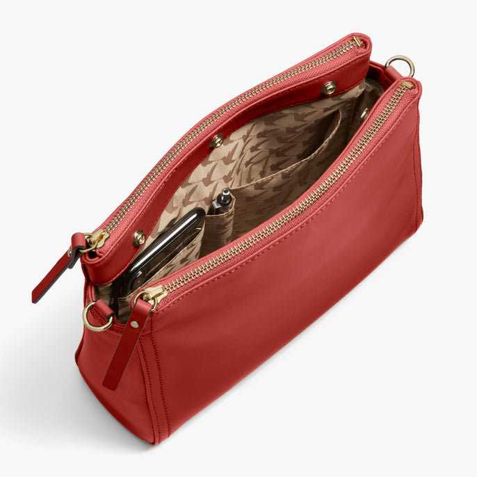 Interior Full - Pearl - Nappa Leather - Santa Fe Red / Gold / Camel - Crossbody Bag - Lo & Sons