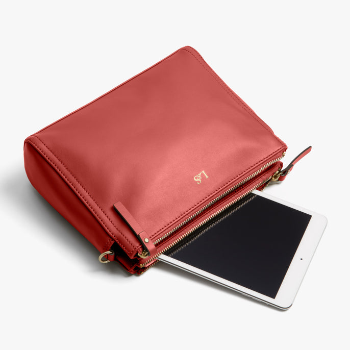 Tablet - Pearl - Nappa Leather - Santa Fe Red / Gold / Camel - Crossbody Bag - Lo & Sons