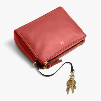 Key Leash - Pearl - Nappa Leather - Santa Fe Red / Gold / Camel - Crossbody Bag - Lo & Sons