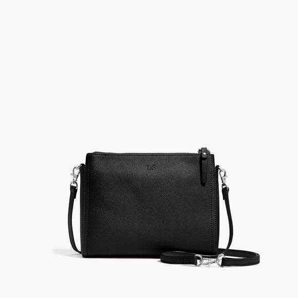 Front - Pearl - Saffiano Leather - Black / Silver / Grey - Crossbody Bag - Lo & Sons