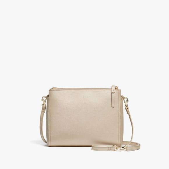 Front - Pearl - Saffiano Leather - Champagne / Gold / Camel - Crossbody Bag - Lo & Sons
