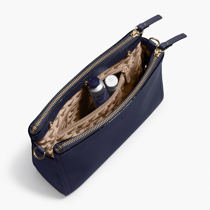 Interior Packed - Pearl - Saffiano Leather - Deep Navy / Gold / Camel - Crossbody Bag - Lo & Sons