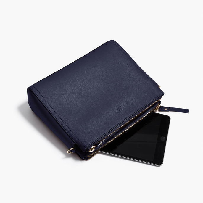 Tablet - Pearl - Saffiano Leather - Deep Navy / Gold / Camel - Crossbody Bag - Lo & Sons