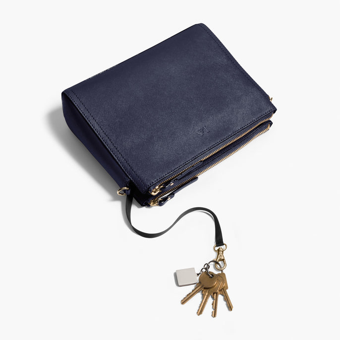 Key Leash - Pearl - Saffiano Leather - Deep Navy / Gold / Camel - Crossbody Bag - Lo & Sons