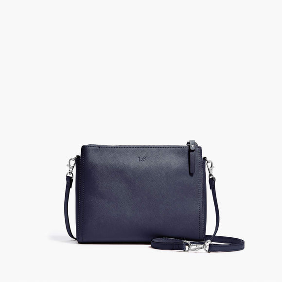 Front Crossbody - The Pearl - Saffiano Leather - Deep Navy / Silver / Azure - Crossbody - Lo & Sons