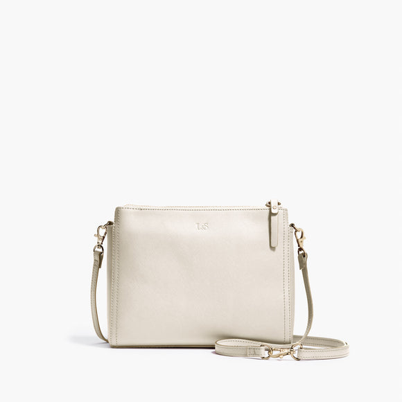 Front Crossbody - The Pearl - Saffiano Leather - Ivory / Gold / Camel - Crossbody - Lo & Sons