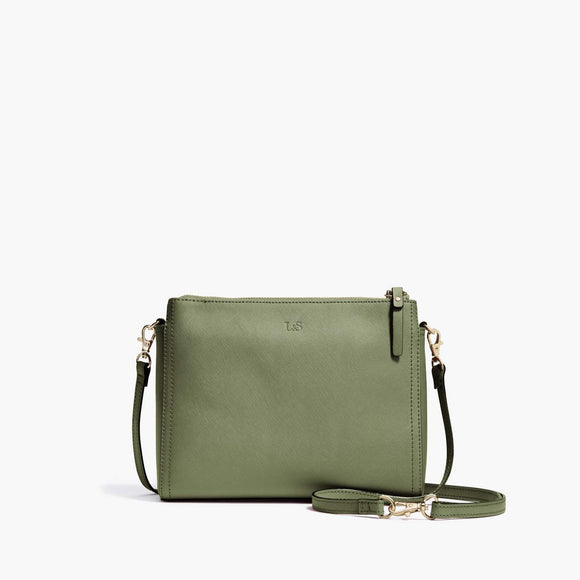 Front - Pearl - Saffiano Leather - Sage Green / Gold / Camel - Crossbody Bag - Lo & Sons