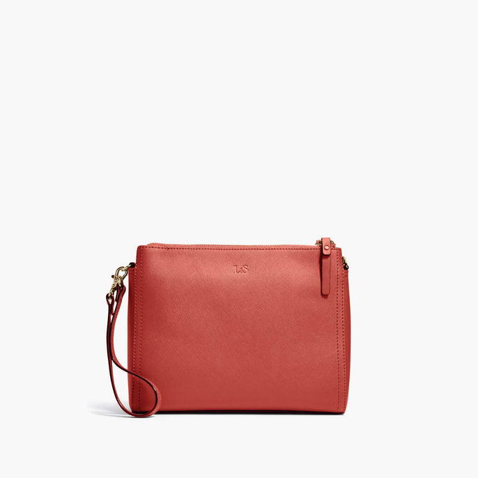 Clutch - Pearl - Saffiano Leather - Santa Fe Red / Gold / Camel - Crossbody Bag - Lo & Sons