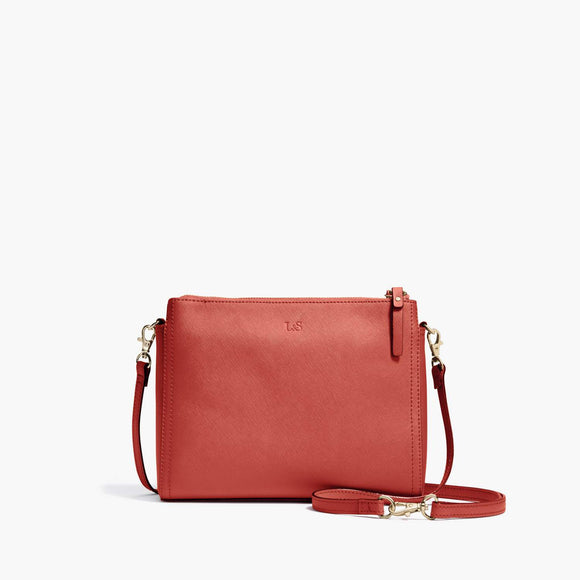 Front - Pearl - Saffiano Leather - Santa Fe Red / Gold / Camel - Crossbody Bag - Lo & Sons