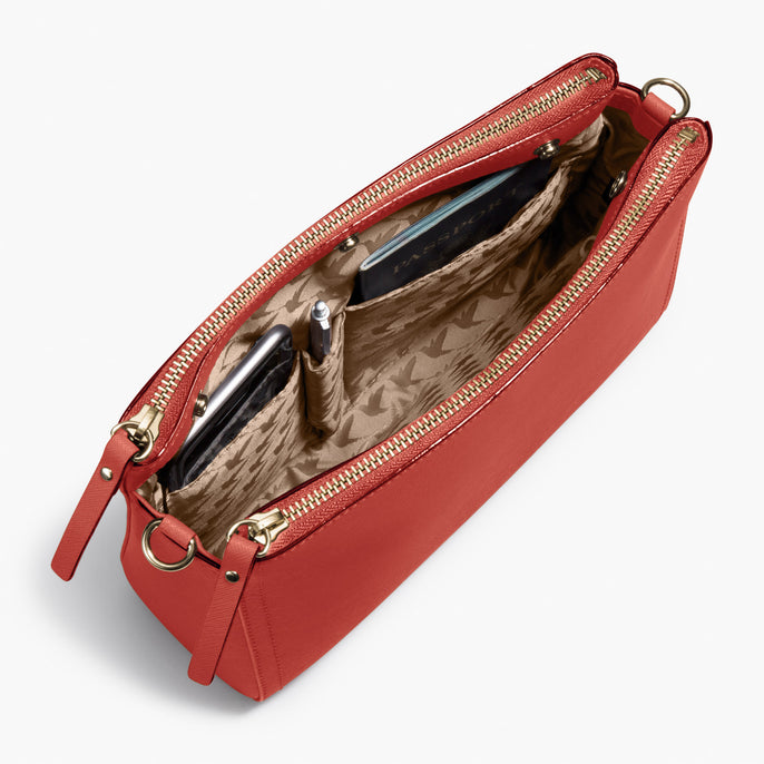 Interior Packed - Pearl - Saffiano Leather - Santa Fe Red / Gold / Camel - Crossbody Bag - Lo & Sons