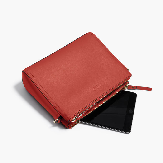 Tablet - Pearl - Saffiano Leather - Santa Fe Red / Gold / Camel - Crossbody Bag - Lo & Sons