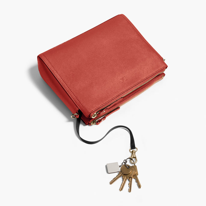 Key Leash - Pearl - Saffiano Leather - Santa Fe Red / Gold / Camel - Crossbody Bag - Lo & Sons