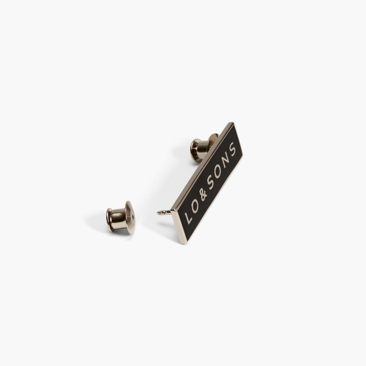 Side - The Pin LS Wordmark - Metal - Black - Small Accessory - Lo & Sons