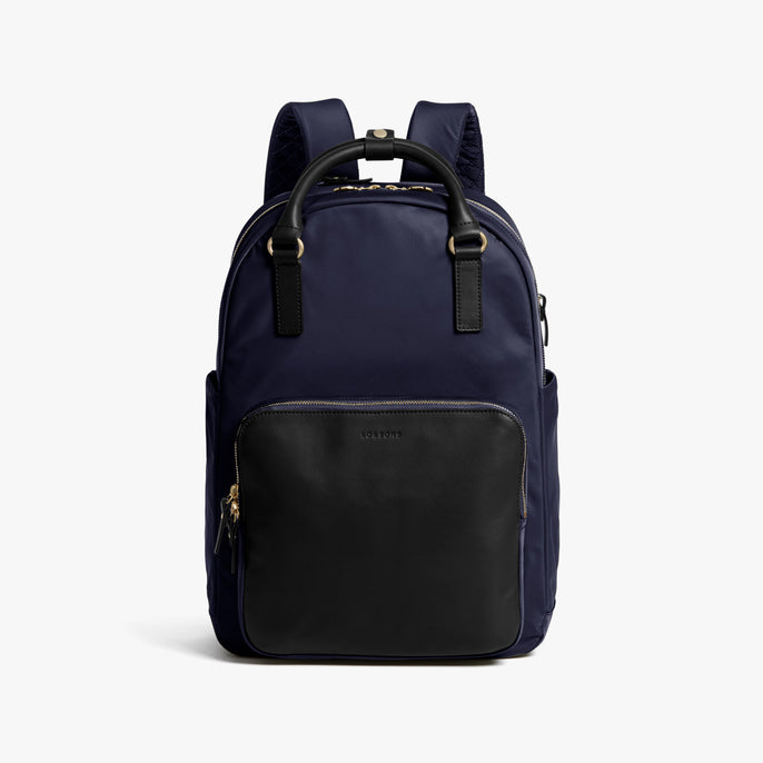 Front - Rowledge - Nylon - Deep Navy / Gold / Camel - Backpack - Lo & Sons