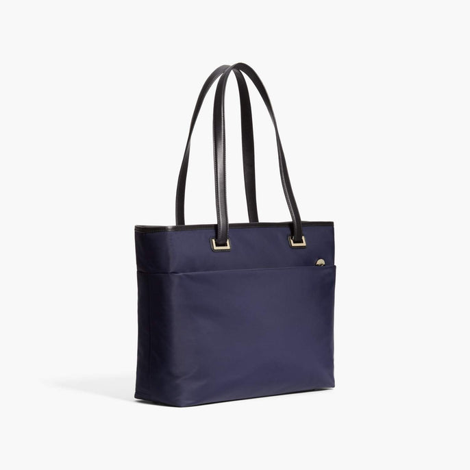 Side - The Seville Aire Tote - Nylon - Deep Navy / Gold / Grey - Tote - Lo & Sons