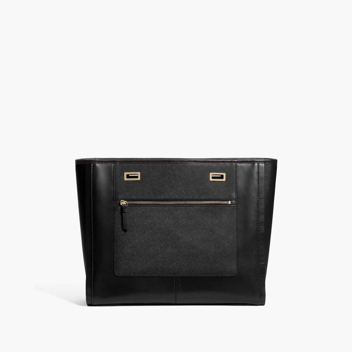 Front - The Seville Prima Shell - Nappa & Saffiano Leather - Black / Gold / Black - Tote - Lo & Sons