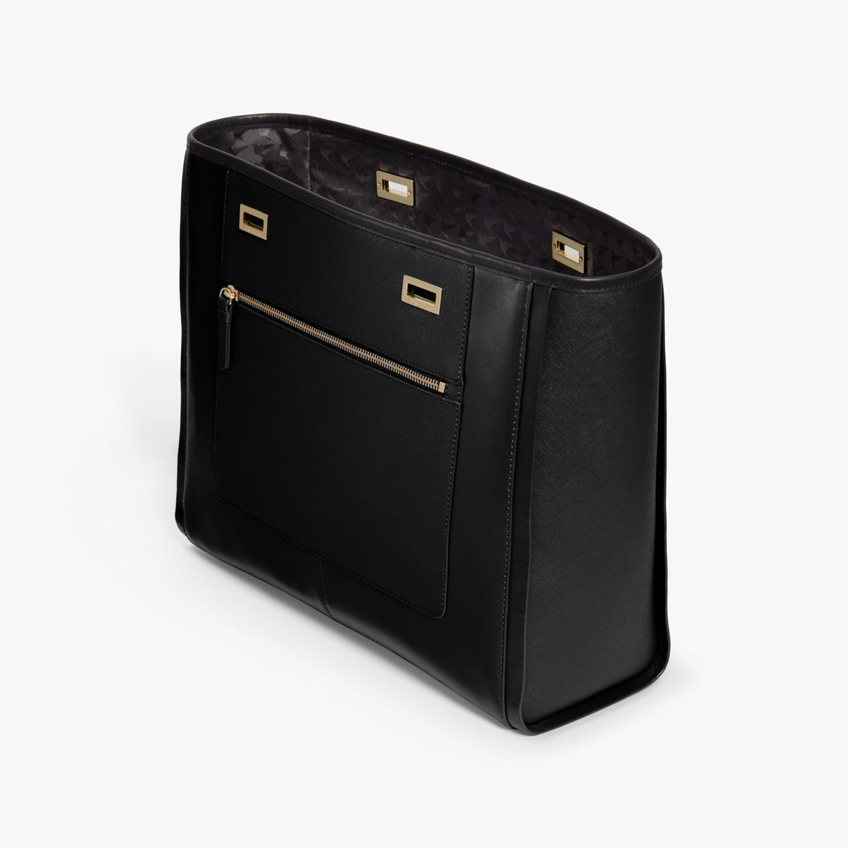 Side - The Seville Prima Shell - Nappa & Saffiano Leather - Black / Gold / Black - Tote - Lo & Sons