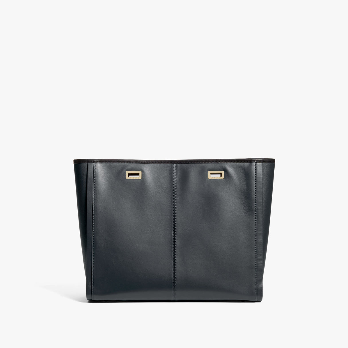 Back - The Seville Prima Shell - Nappa & Saffiano Leather - Dark Grey / Gold / Black - Tote - Lo & Sons