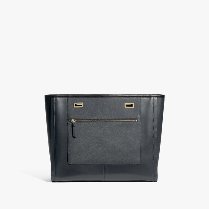 Front - The Seville Prima Shell - Nappa & Saffiano Leather - Dark Grey / Gold / Black - Tote - Lo & Sons