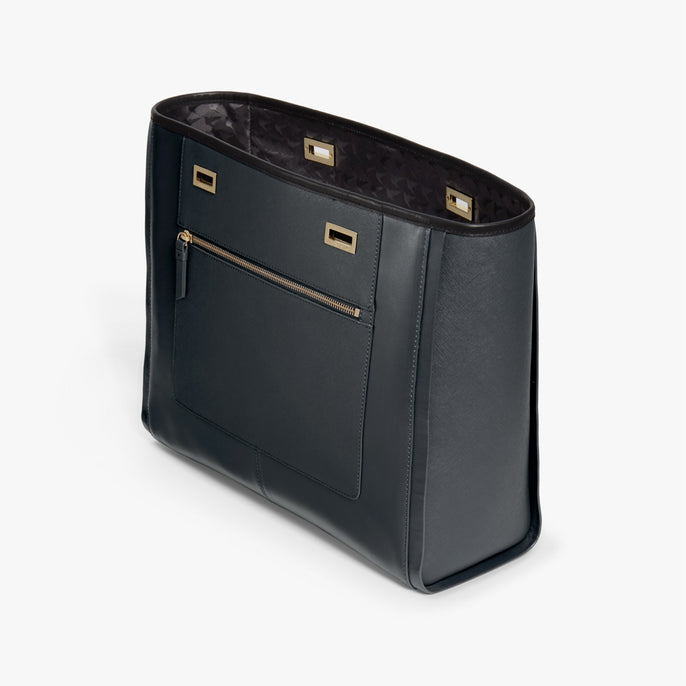Side - The Seville Prima Shell - Nappa & Saffiano Leather - Dark Grey / Gold / Black - Tote - Lo & Sons