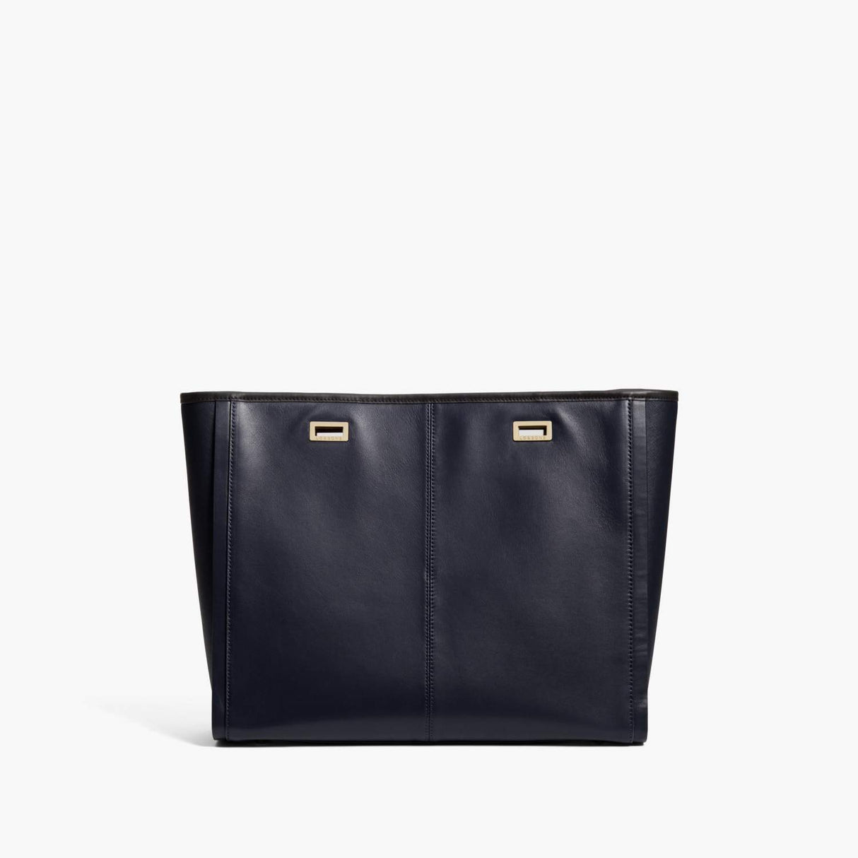 Back - The Seville Prima Shell - Nappa & Saffiano Leather - Deep Navy / Gold / Black - Tote - Lo & Sons