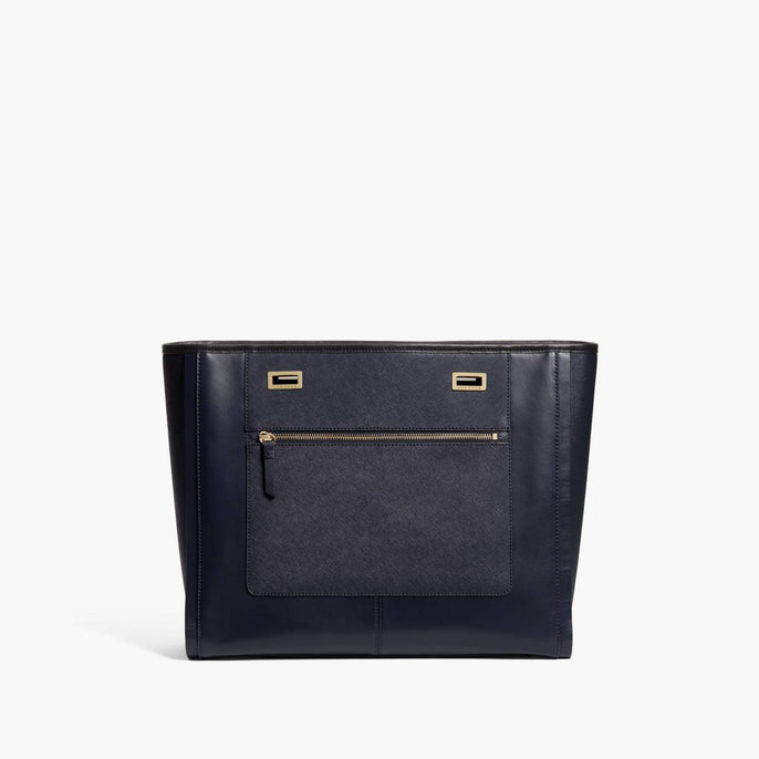 Front - The Seville Prima Shell - Nappa & Saffiano Leather - Deep Navy / Gold / Black - Tote - Lo & Sons