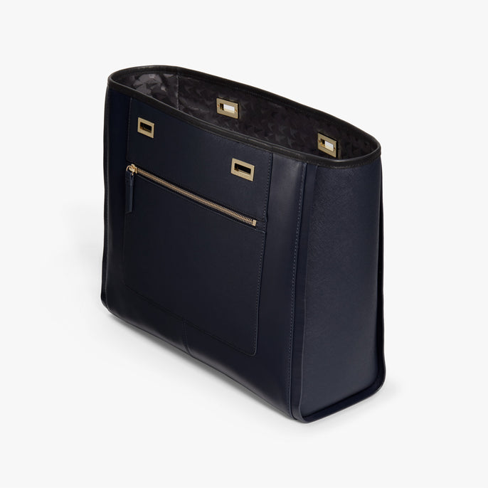 Side - The Seville Prima Shell - Nappa & Saffiano Leather - Deep Navy / Gold / Black - Tote - Lo & Sons