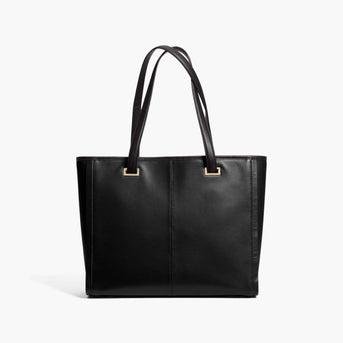 Back - The Seville Prima Tote - Nappa & Saffiano Leather - Black / Gold / Grey - Tote - Lo & Sons