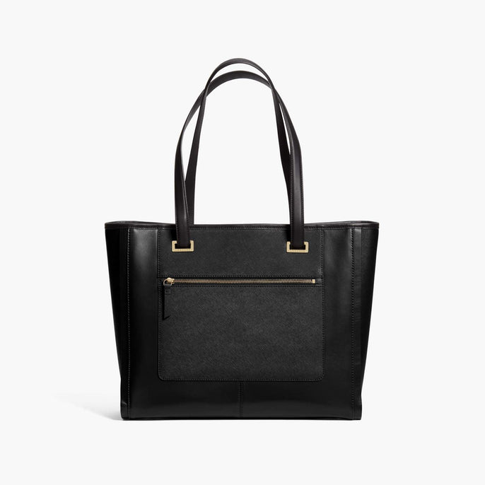 Front - The Seville Prima Tote - Nappa & Saffiano Leather - Black / Gold / Grey - Tote - Lo & Sons