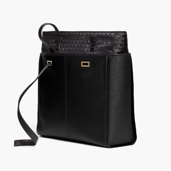 Removable Insert - The Seville Prima Tote - Nappa & Saffiano Leather - Black / Gold / Grey - Tote - Lo & Sons