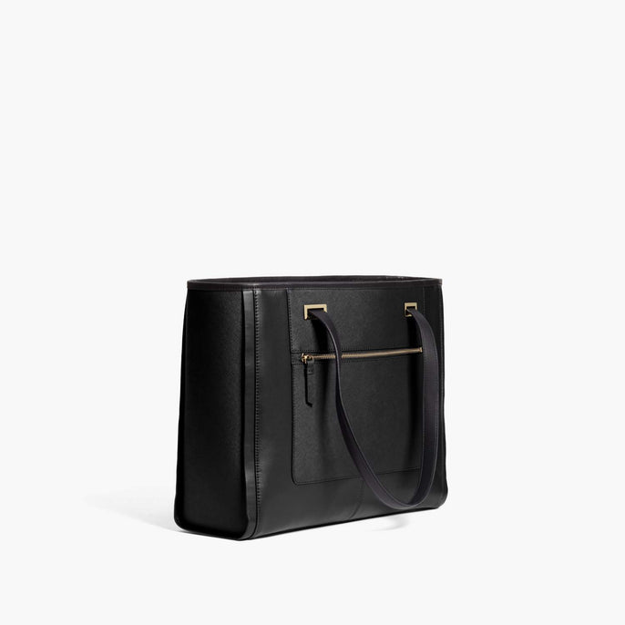 Side - The Seville Prima Tote - Nappa & Saffiano Leather - Black / Gold / Grey - Tote - Lo & Sons