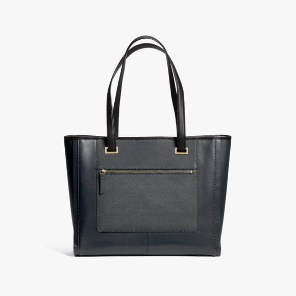 Front - The Seville Prima Tote - Nappa & Saffiano Leather - Dark Grey / Gold / Grey - Tote - Lo & Sons
