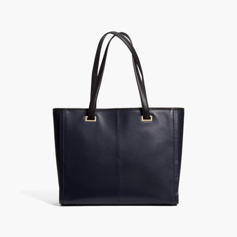Back - The Seville Prima Tote - Nappa & Saffiano Leather - Deep Navy / Gold / Grey - Tote - Lo & Sons