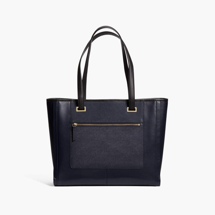 Front - The Seville Prima Tote - Nappa & Saffiano Leather - Deep Navy / Gold / Grey - Tote - Lo & Sons