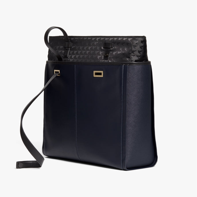 Removable Insert - The Seville Prima Tote - Nappa & Saffiano Leather - Deep Navy / Gold / Grey - Tote - Lo & Sons