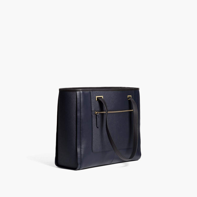 Alternate Side - The Seville Prima Tote - Nappa & Saffiano Leather - Deep Navy / Gold / Grey - Tote - Lo & Sons