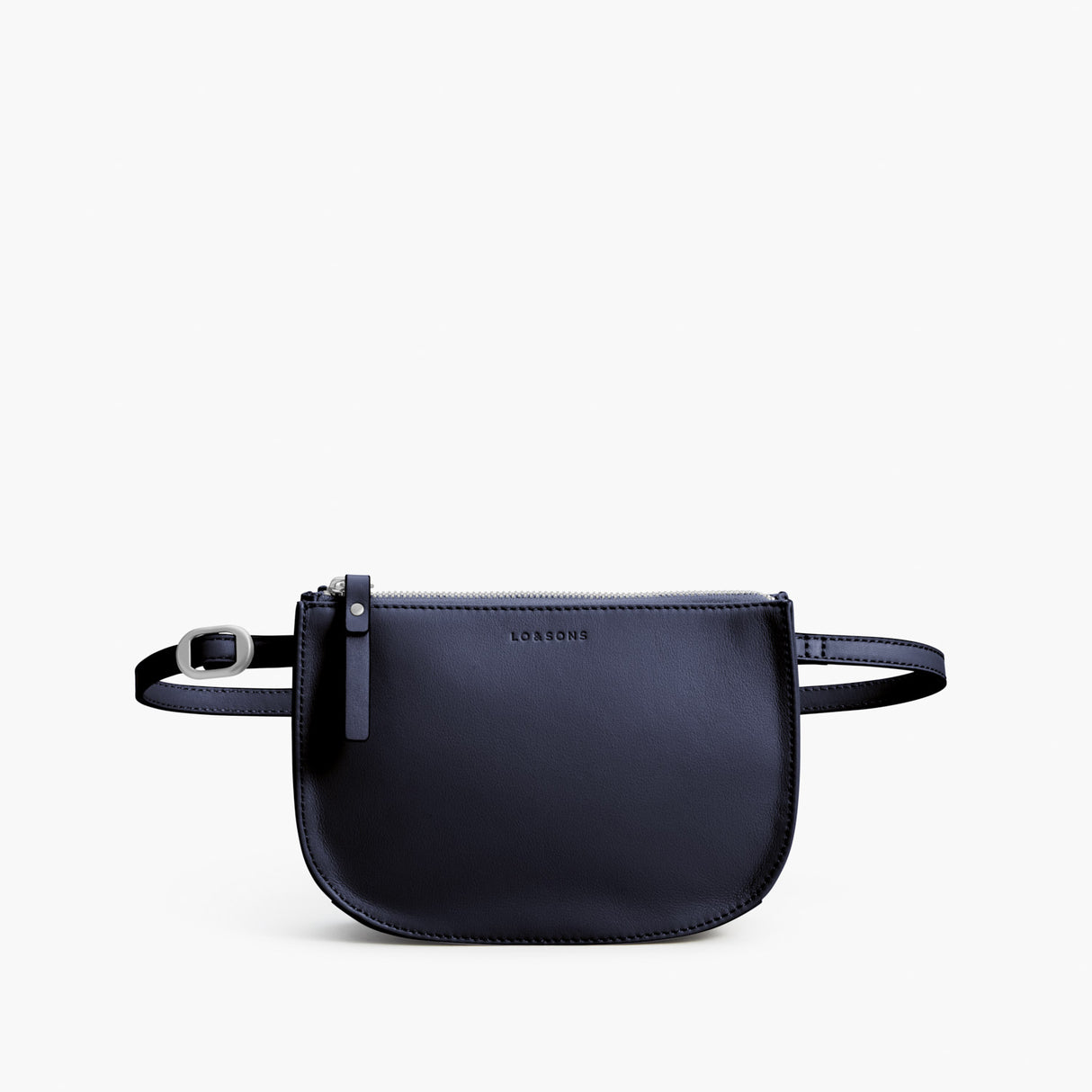 Front Beltbag - The Waverley 2 - Nappa Leather - Deep Navy / Silver / Azure - Crossbody - Lo & Sons