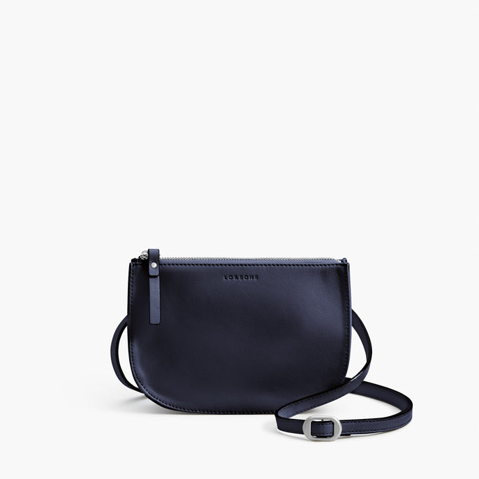Front Crossbody - The Waverley 2 - Nappa Leather - Deep Navy / Silver / Azure - Crossbody - Lo & Sons