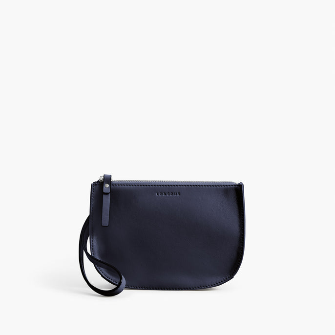 Front Wristlet - The Waverley 2 - Nappa Leather - Deep Navy / Silver / Azure - Crossbody - Lo & Sons
